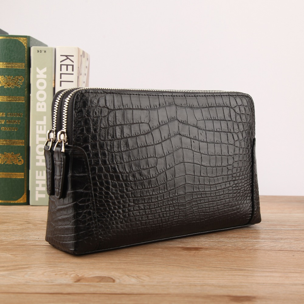 Real genuine crocodile skin big size men wallet clutch with inner cow skin lining double zips closure men business holder wallet