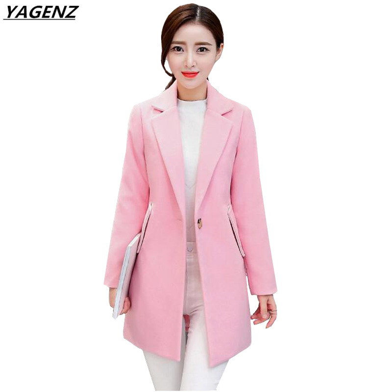 Women Jacket 2017 Autumn Winter Woolen Coat Women Clothing Loose Large Size Medium Long Woolen Cloth Coat Casual Tops YAGENZ