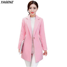 Women Jacket 2017 Autumn Winter Woolen Coat Women Clothing Loose Large Size Medium Long Woolen Cloth Coat Casual Tops YAGENZ