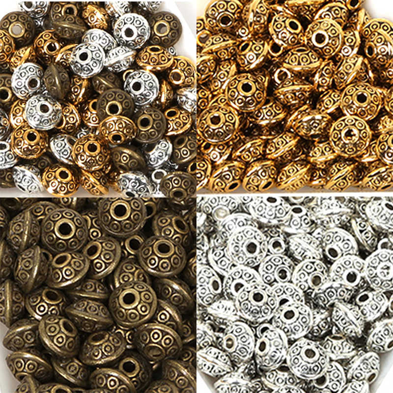 50PCs Dia. 6mm Tibetan Metal Beads Antique Gold Silver Oval UFO Shape Loose Spacer Beads for Jewelry Making DIY Bracelet Charms