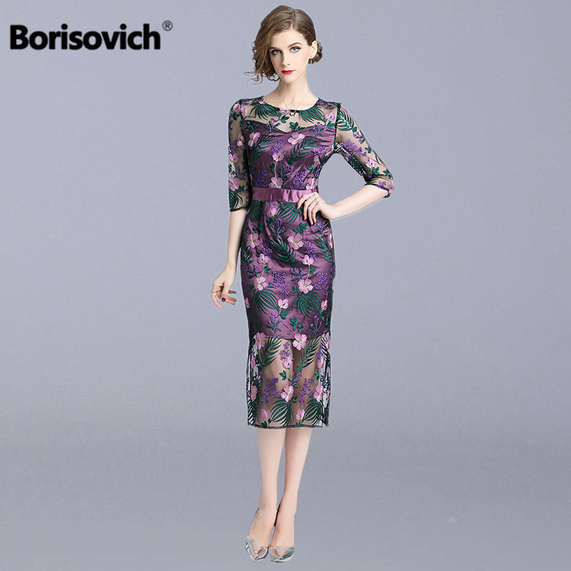 Borisovich Luxury Floral Embroidery Ladies Evening Party Dress New 2019 Spring Fashion Elegant Women Casual Pencil