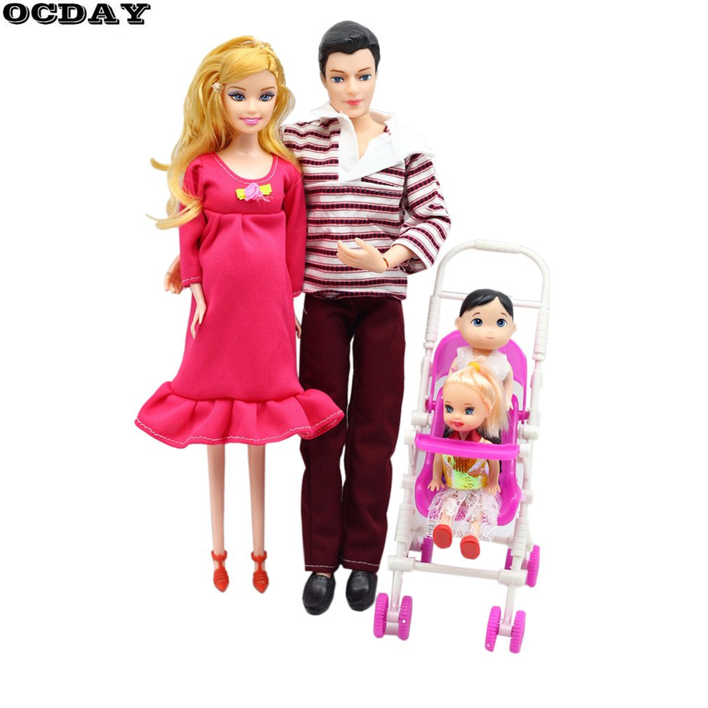 OCDAY 5 People Dolls Suit Doll Family Members Pregnant Mom Dad Baby and 2 Kids Carriage Christmas Gift Doll Toys for Children image