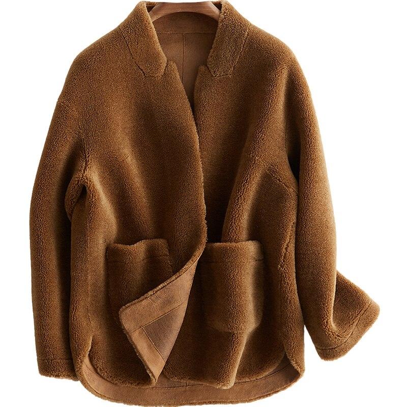 100% Veste en laine De Mouton En Fourrure Manteau D'hiver Femmes Vêtements 2018 Réel Manteau De Fourrure Coréen Élégant PU Doublure Casaco Feminino ZT809