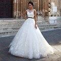 Sexy Ball Gown White Lace Wedding Dresses 2017 Appliques Bow Belt Wedding Bridal Gowns Robe de Mariage Vestidos De Novia WB99
