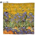 "34"" 100% Real Silk Square Scarfs Hand Rolled Edges Flower Wraps & Scarves Famous Works - Van Gogh's Irises 1890"