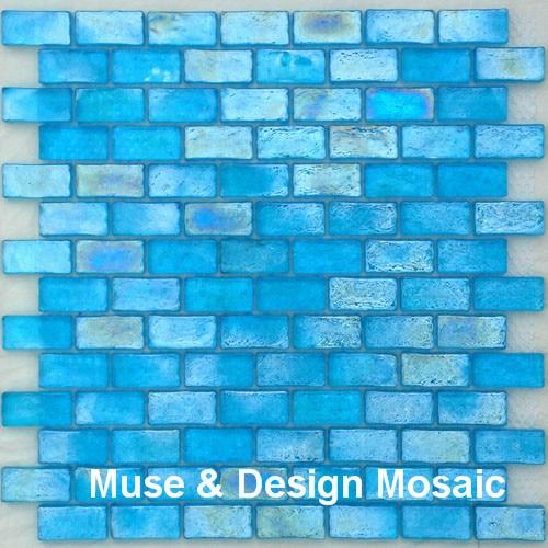 Glass Tile Borders Bathroom: Iridescent Glazed Crystal Ocean Blue Glass Mosaic Tiles