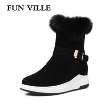 FUN VILLE New Winter Womens Snow Boots Fur Warm Ankle PU Leather High Heels Height Increasing Thick Platform shoes
