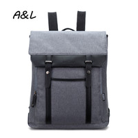 Men Backpack Retro Casual Nylon PU Leather Travel Bag Large Capacity Laptop Bag Leisure Outdoor Camping