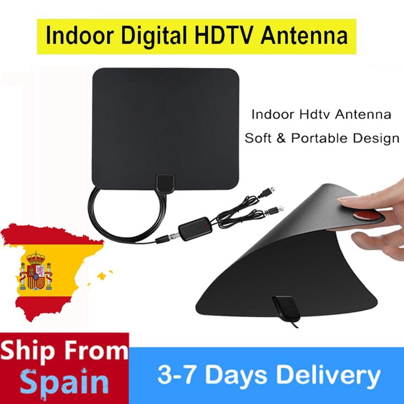 SATXTREM Noir Antenne 50 Mile Gamme Ultra-mince Numérique Intérieur Antena TV HDTV Antenne & Haute Signal Capture Câble Signal Amplifie