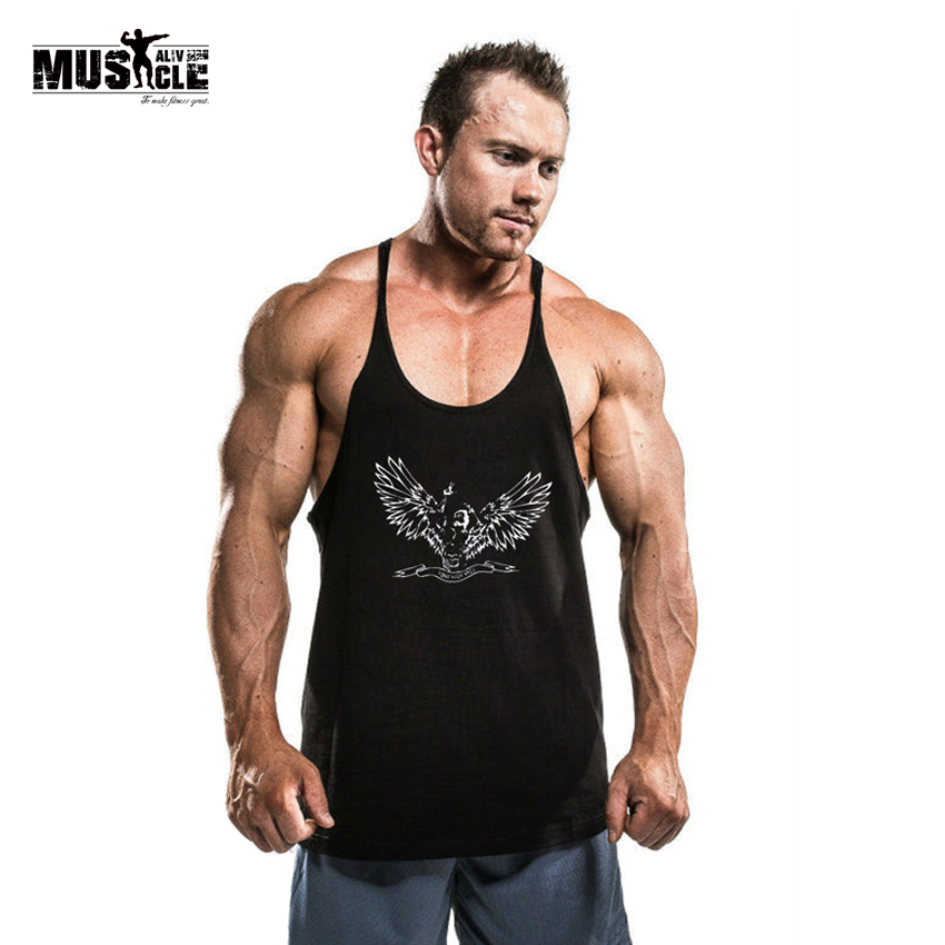 a08a29e7e4f5b ZYZZ Bodybuilding Tank Top Men Stringer Singlet Fitness Sleeveless  Undershirt Muscle Vest Cotton Shirt Racerback