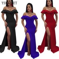 018 Night Party Wear Elegant Women Ruffles Maxi Dress Sexy Off Shoulder High Split Floor Length Dress Vingtage Gown EK9135