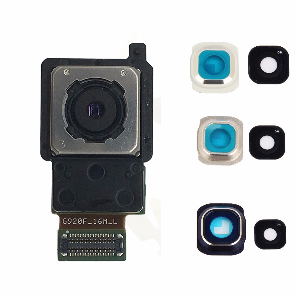 BINYEAE Replacement For Samsung Galaxy S6 G920 G920F G920FD G920i G920A G920W8 G920A Back Rear Module Main Camera+Camera Lens