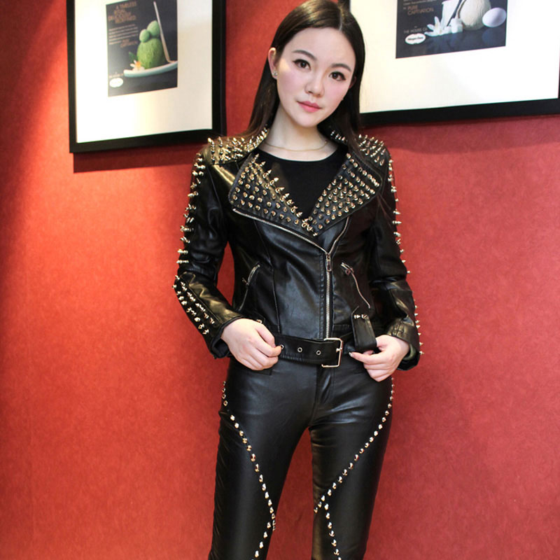 New Slim   Leather   Jacket Women Street Style Zippers and Rivet Motorcycle Black Jacket Short Spliced Coat blouson cuir femme 1458