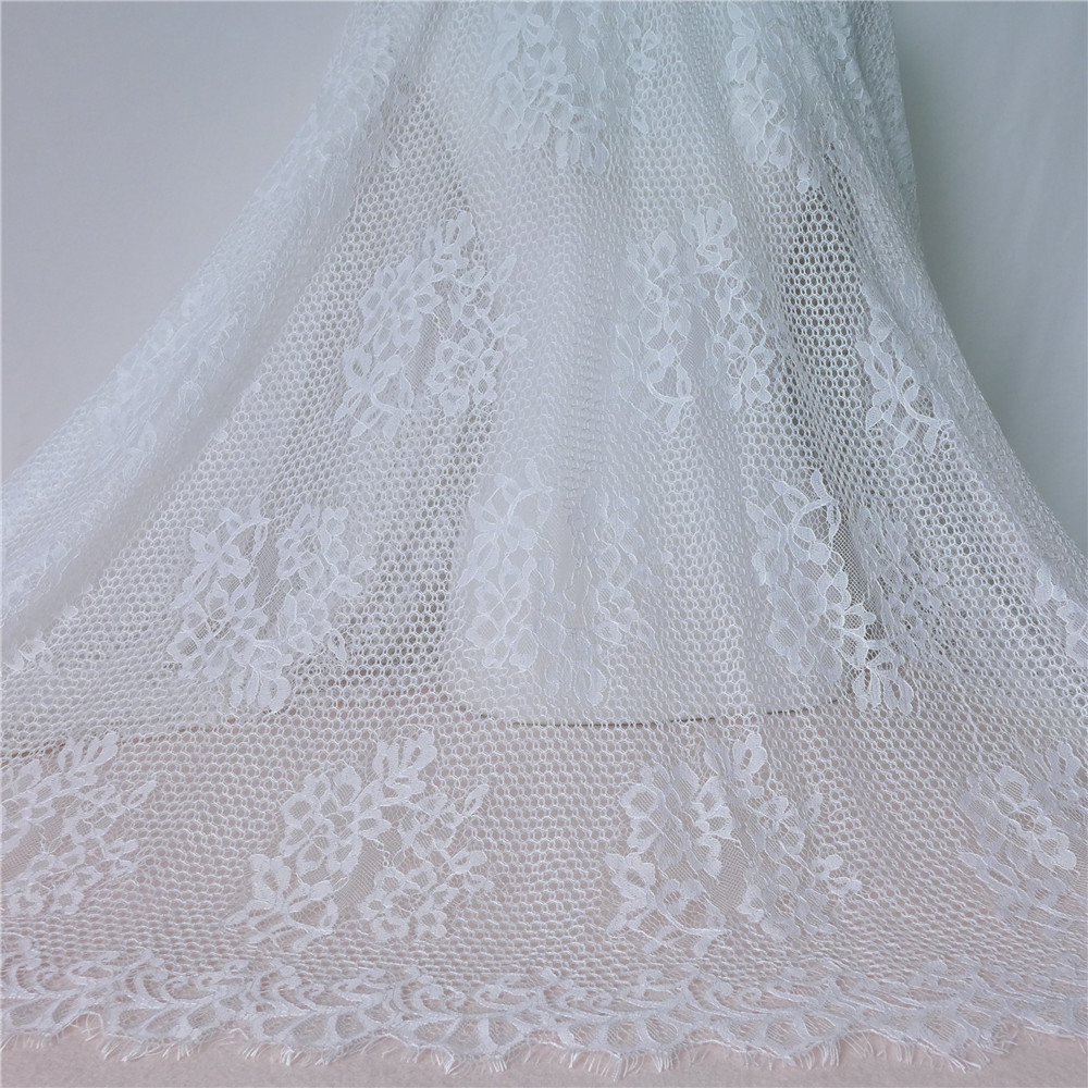 Vintage Embroidery Eyelet Eyelash Lace Fabric In White DIY Sewing ...