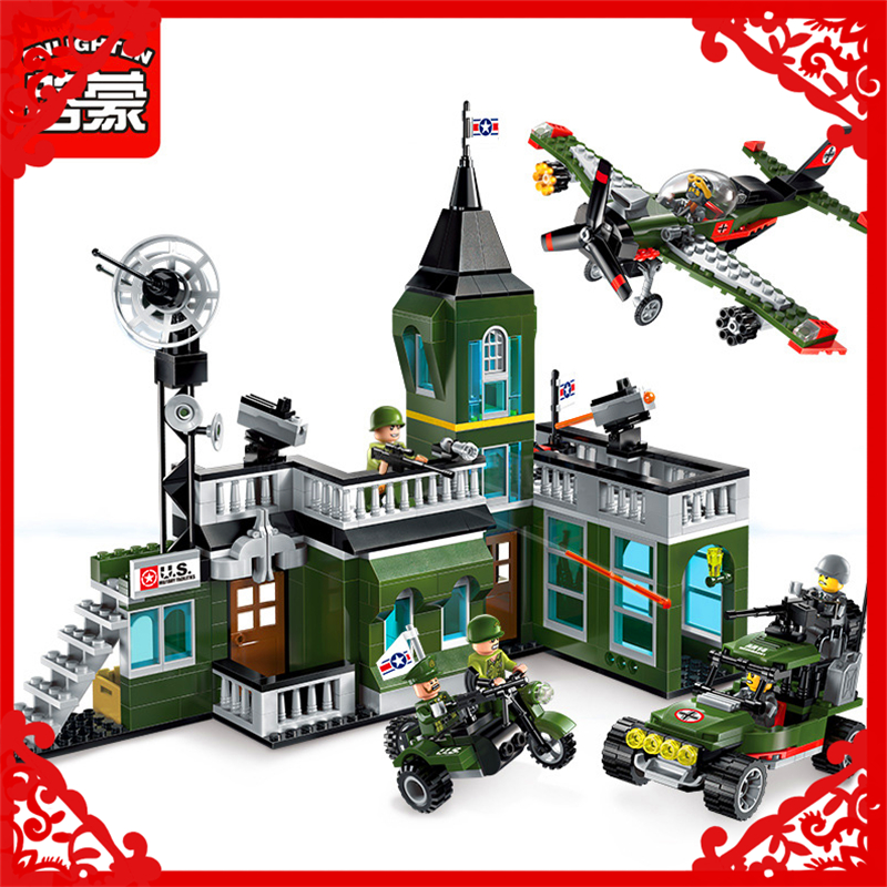 ENLIGHTEN 1714 City Military Command Bomber Building Block 627Pcs Educational  Toys For Children Compatible Legoe decool 3114 city creator 3in1 vehicle transporter building block 264pcs diy educational toys for children compatible legoe