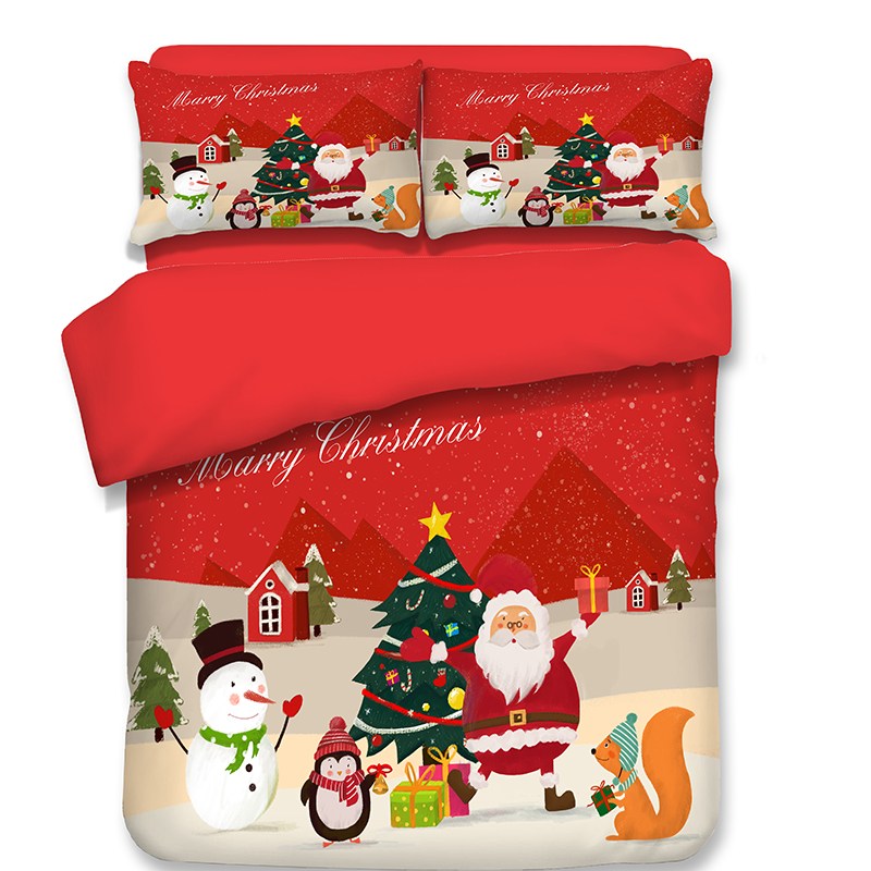 Decor 3D Snowman Bedding Sets Winter red Christmas tree Duvet Cover pillowcase for Adult Kids 3pcs queen king Bedclothes Bedroom