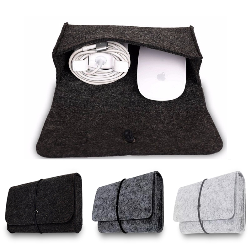 New Wool Felt For Macbook Mouse Charger USB Cable Bag Digtal Storage Bag For Macbook Mouse Charger Sleeve Case