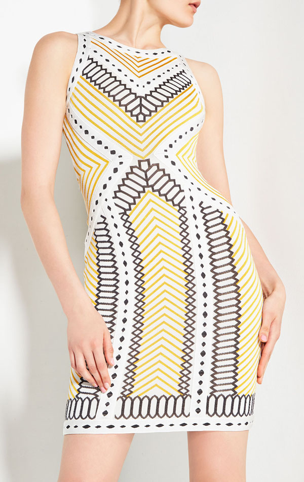 wholesale High-quality Jacquard new dress light yellow Stretch tight Luxury fashion Cocktail party bandage dress (H1086)