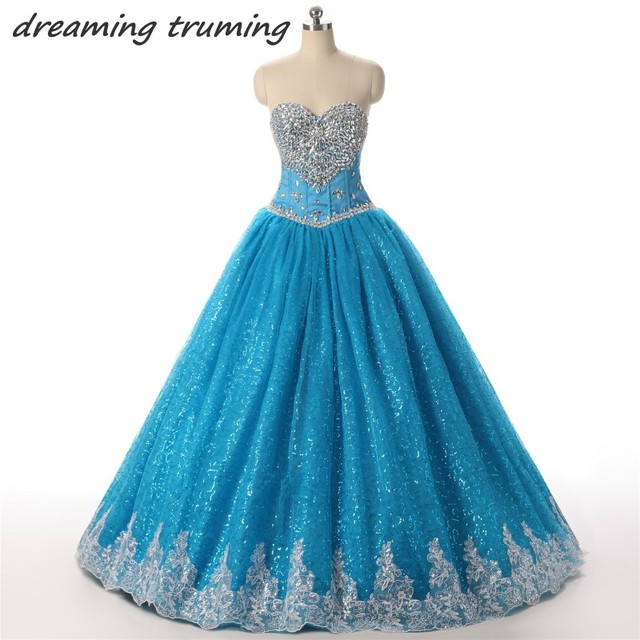 Sweet 16 Birthday Ball Gowns Blue Quinceanera Dresses Sparkly Beaded  Crystal Girl Debutante 15 Years Dress Vestidos Para 15 Anos 18e808125a2c