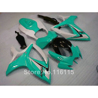 Injection mold fairings for SUZUKI GSXR 600 750 K6 K7 2006 2007 green white black fairing kit GSXR600 GSXR750 06 07 A68