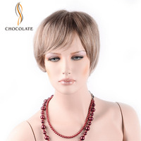 CHOCOLATE Hand Made Glueless Lace Front Synthetic Wig Short Bob Straight Blonde Wig 3 Colors 150% Density 4 Inch Kanekalon