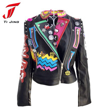 2017 new women autumn leather jacket fashion letter printing pattern leather coat outwear short jackets for woman 2017  Z340