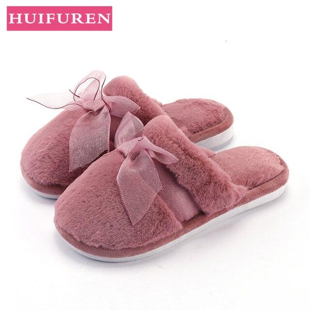 2019 Amantes Casa de Inverno Indoor Chinelos Quentes de Pelúcia Curto Bowknot Estilo Flat Shoes Deslizamento Em Feminino Slides Chinelo Unisex