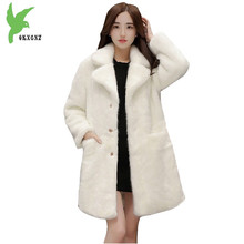 New Winter Women Imitation Water Mink Fur Coats Fashion Solid Color Thicker Medium Length Jackets Plus