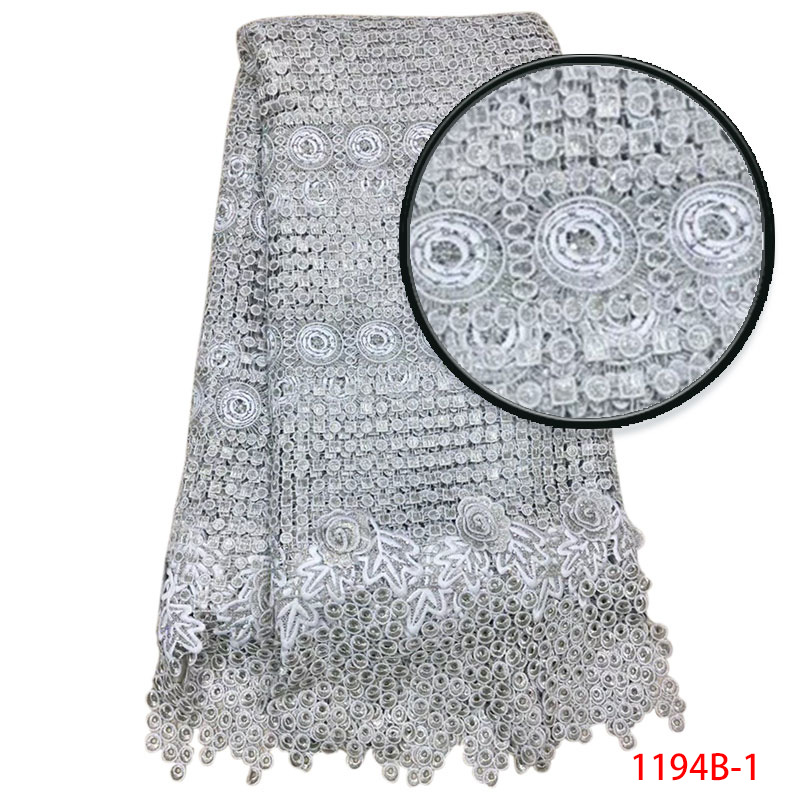Wholesale High Quality Nigerian African Lace Fabric French Tulle Mesh Fabric with beaded For Party dress 5yards/lot XY1194B-1