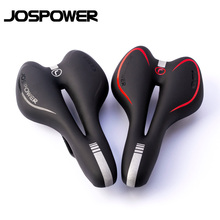 JOSPOWER Bike Silicone Cushion PVC Leather Surface Silica Filled Gel Comfortable Hollow Cycling Seat Shockproof Bicycle Saddle