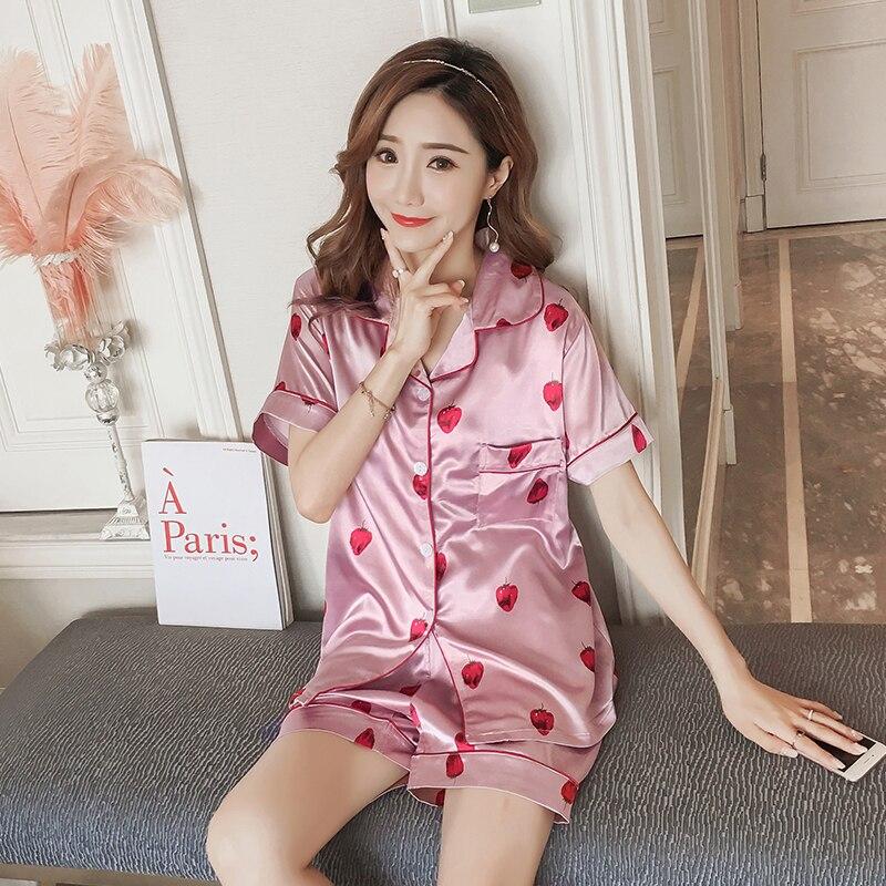 Women Comfortable Silk   Pajama     Set   cute pink Strawberry Print Pyjama   Set   Short Sleeve short pant   set   Sleepwear Suit Women   pajamas