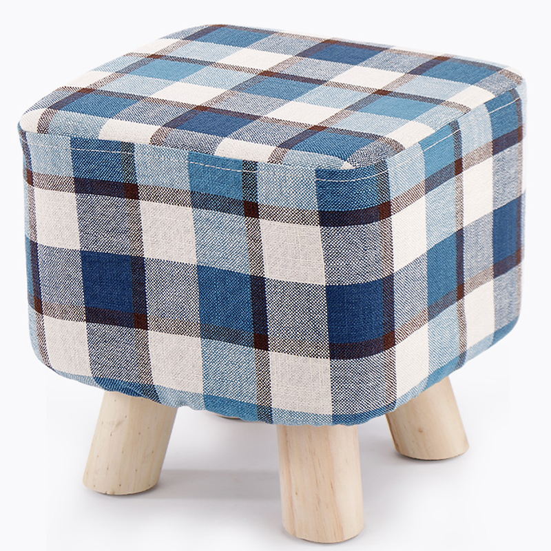 Vogue Plaid Taboret Small Stool Creative Wooden Sofa Stool