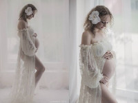 Women S Lace Pregnant Women Trailing Short Sleeved Dress Dress Photography Fly Sleeve Purple Dress Maternity