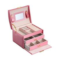 Jewelry Packaging Box Lockable Makeup Storage Case Organizer with Lift Up Lid Mirror and Drawers