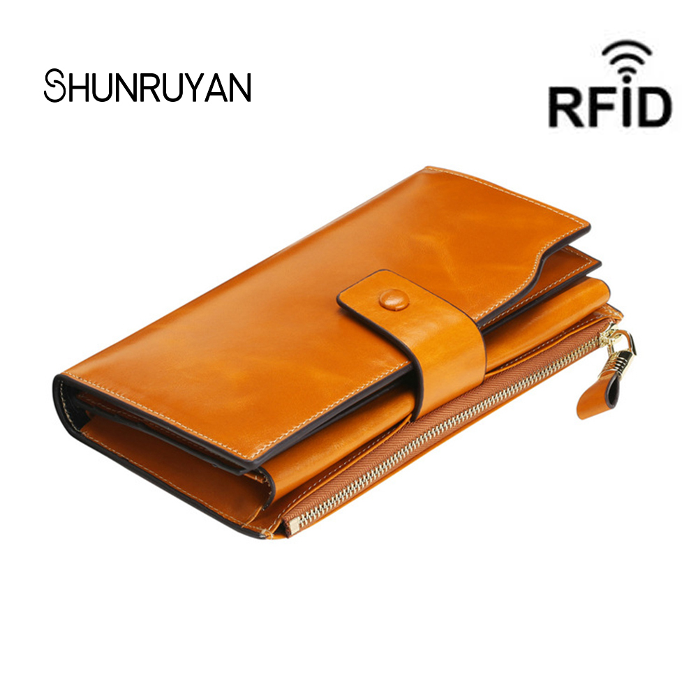 SHUNRUYAN New seven color Women Wallet Fashion Long Zipper Hasp Clutch Wallets Ms Cow Leather Women Multi-card bit purse