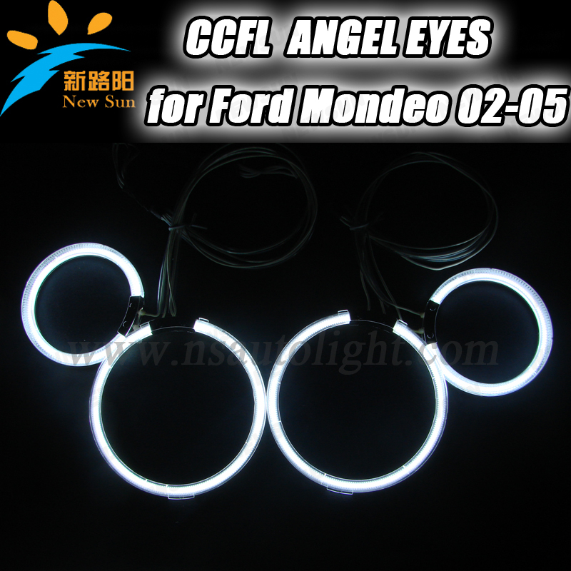 Free Shipping ccfl ring for Mondeo 02-05 full circle 95mm&125mm ccfl angel eyes 9-16V DC halo kit headlight replacement for Ford other voices full circle cd