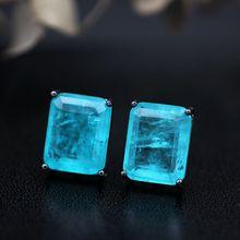 Квадратные женские серьги-гвоздики из натурального камня с кристаллами, вечерние серьги, модные ювелирные изделия, Женские аксессуары