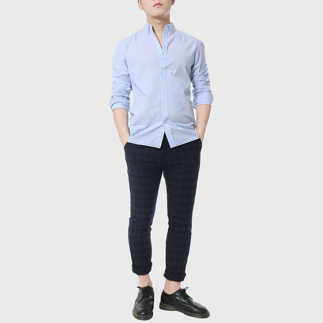 7a00d327052 Mens Slim Fitted Shirts Social Men Casual White Shirts Oxford Chambray  Cowboy Plain Linen Shirts Designer