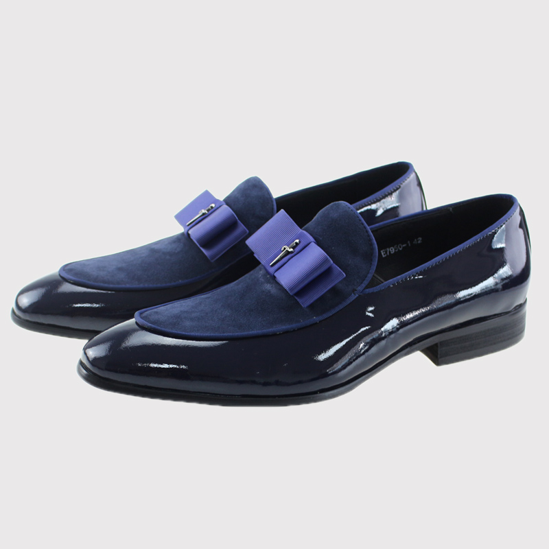 2017 Genuine Leather Nubuck And Suede Leather Shoes Wedding Casual Loafer Round Toe Stitching Bowtie Slip On Suit Blue Footwear beautoday genuine leather crystal loafer shoes women round toe slip on casual shoes sheepskin leather flats 27038