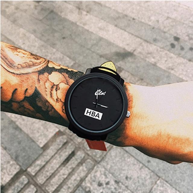 Fashion Leather Strap Watch Brand HBA Unisex Watches Men Quartz Women Dress Watc