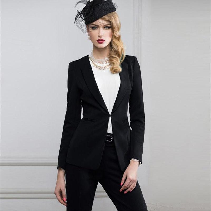 Women Pant Suits Black Designer Suits For Women Notch Lapel Women Ladies Business Office Formal ...