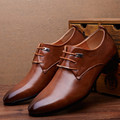 NEW Men Flats Leather Shoes Brogue Pointed Oxford Flat Male Shoes Mens Luxury Brand Size 38-46