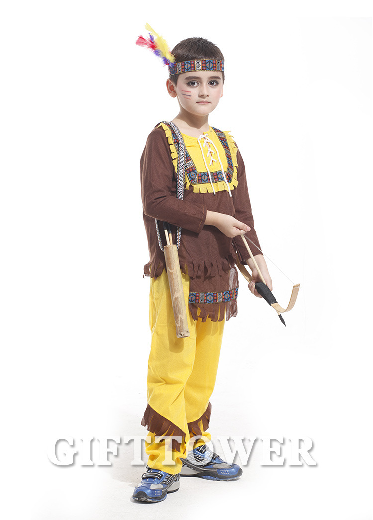 Halloween Carnival Party Indians Prince Hunter Costumes For Kids The Indian Fighter Children Cosplay Photography Clothing GT010
