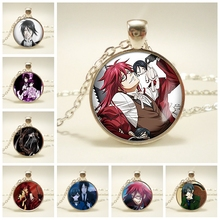 Black Butler Metal Kuroshitsuji Ciel Phantomhive Grell Glass Dome Emblem Anime Manga Making Necklace Pendant Jewelry Gift