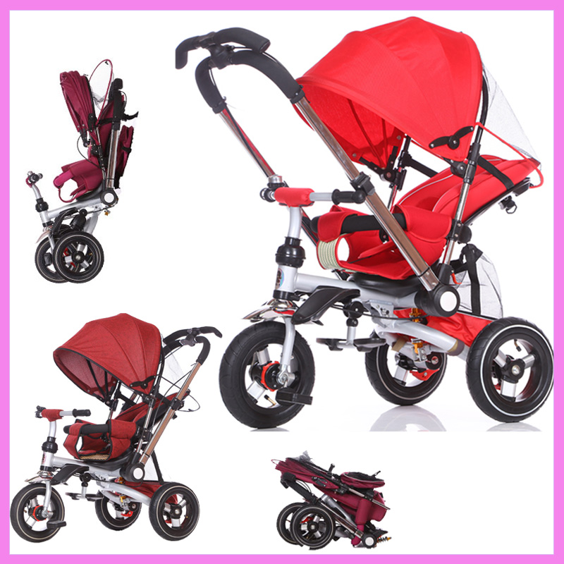 Convertible Handle Baby Tricycle Stroller Riding Bicycle Car Travel System Folding Sit Flat Lying Child Trike Baby Carriage