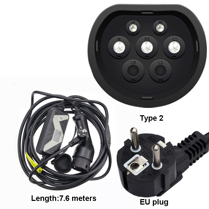 EV Charger 85-265V AC Portable EVSE Home Electric Vehicle Charging Station for Chevy Volt, for Nissan Leaf, for Fiat