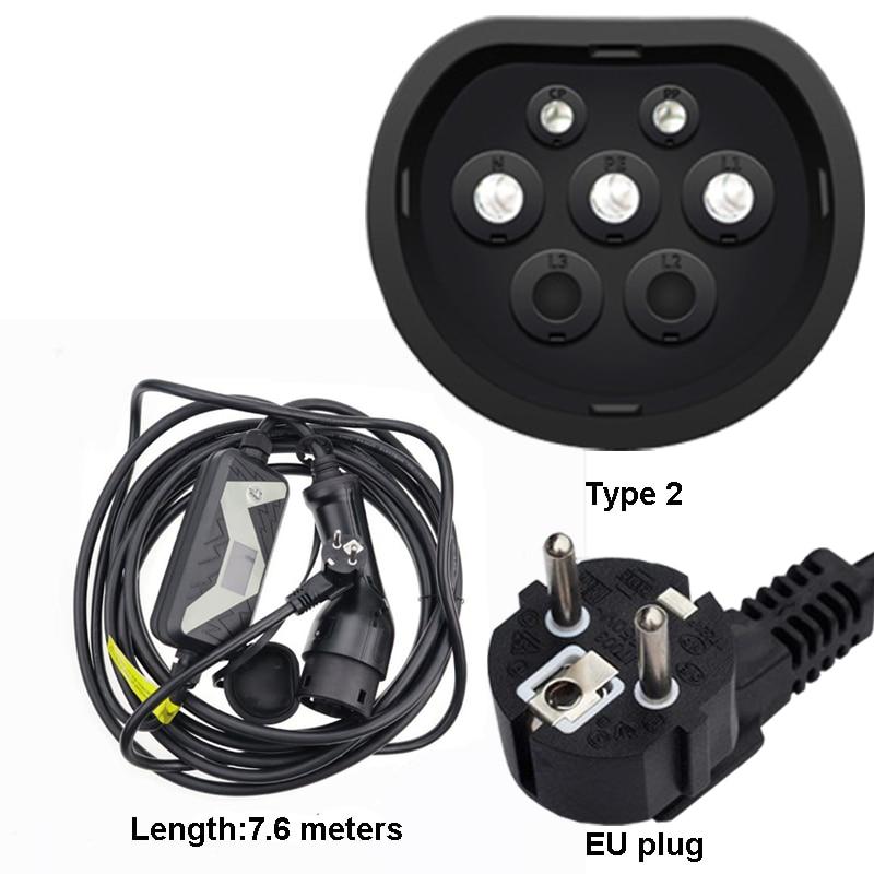 EV chargeur Type 2 connecteur prise pour voiture électrique de charge à domicile Europe pour véhicule Renault