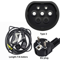Mennekes Type 2 EVSE ev plug modus 2 EV Charger 20A Type Schuko 7.6 M Kabel voor Elektrische Auto Thuis quick Opladen