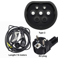 Mennekes Type 2 EVSE ev plug mode 2 EV Charger 20A Type Schuko 7.6M Cable for Electric Car Home Quick Charging