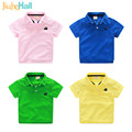 6 Candy Colors Summer Boys Polo Shirts Cartoon Car Embroidered Boys Tee Tops Breathable Sweat Absorb Clothing For Boys CMB274